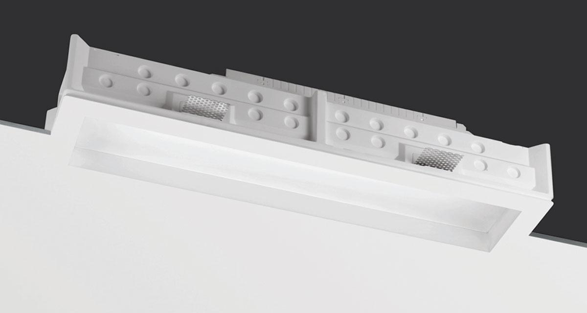 TEKNO | Rectangular recessed lighting with 30 mm rearward frosted glass