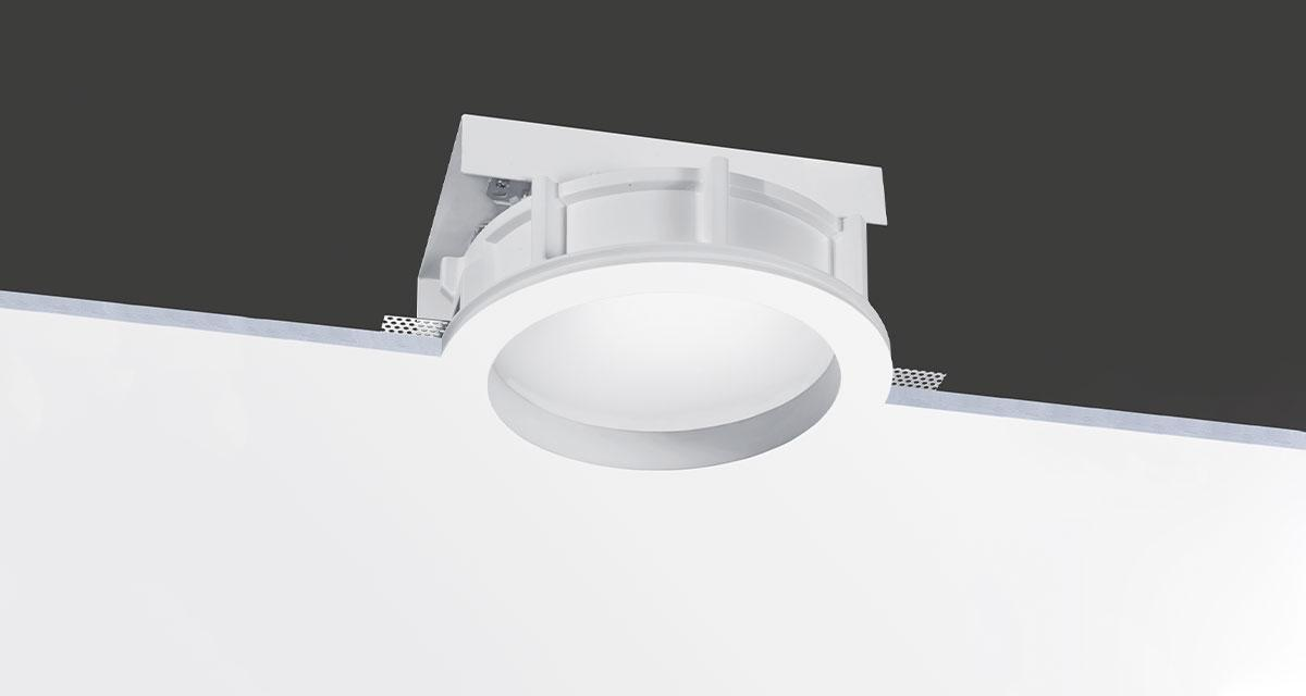 ELIOS | Ø 260 mm rounded recessed lighting with 30 mm rearward glass and fixed or adjustable light source