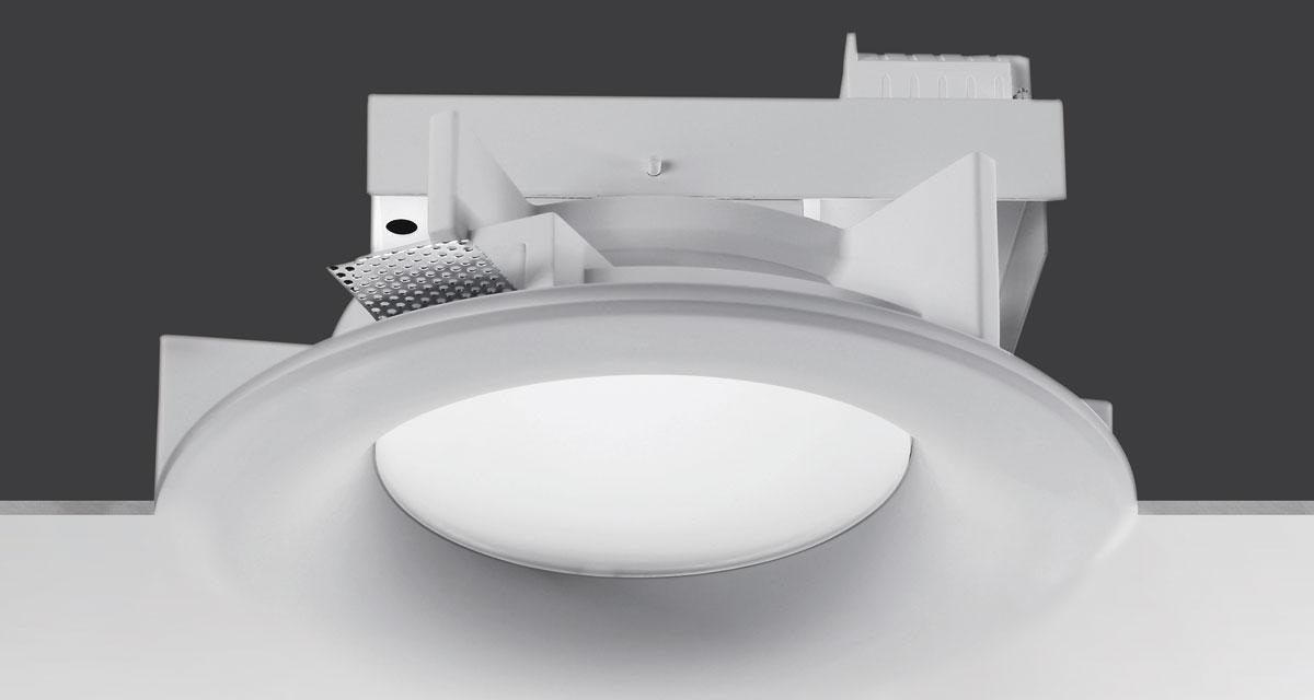 NOVA | Ø 360 mm rounded recessed lighting with rounded edge, 50 mm rearward frosted glass and fixed or adjustable light source