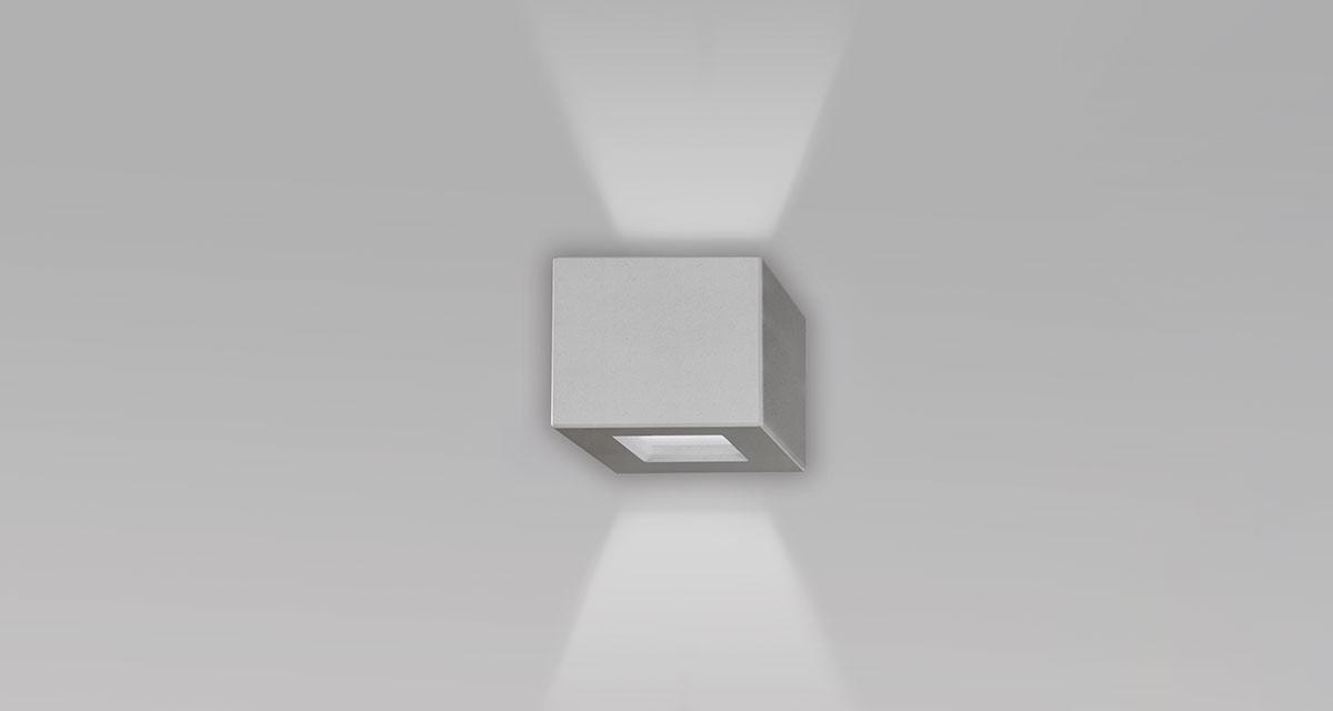 NUSS IP65 | 148 mm exterior wall unit, bi-emission and frosted glass diffuser, paintable