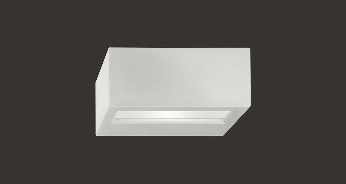 MINIVIRTUS DIRECT IP65 | 235 mm exterior wall unit, direct light and frosted glass diffuser, paintable