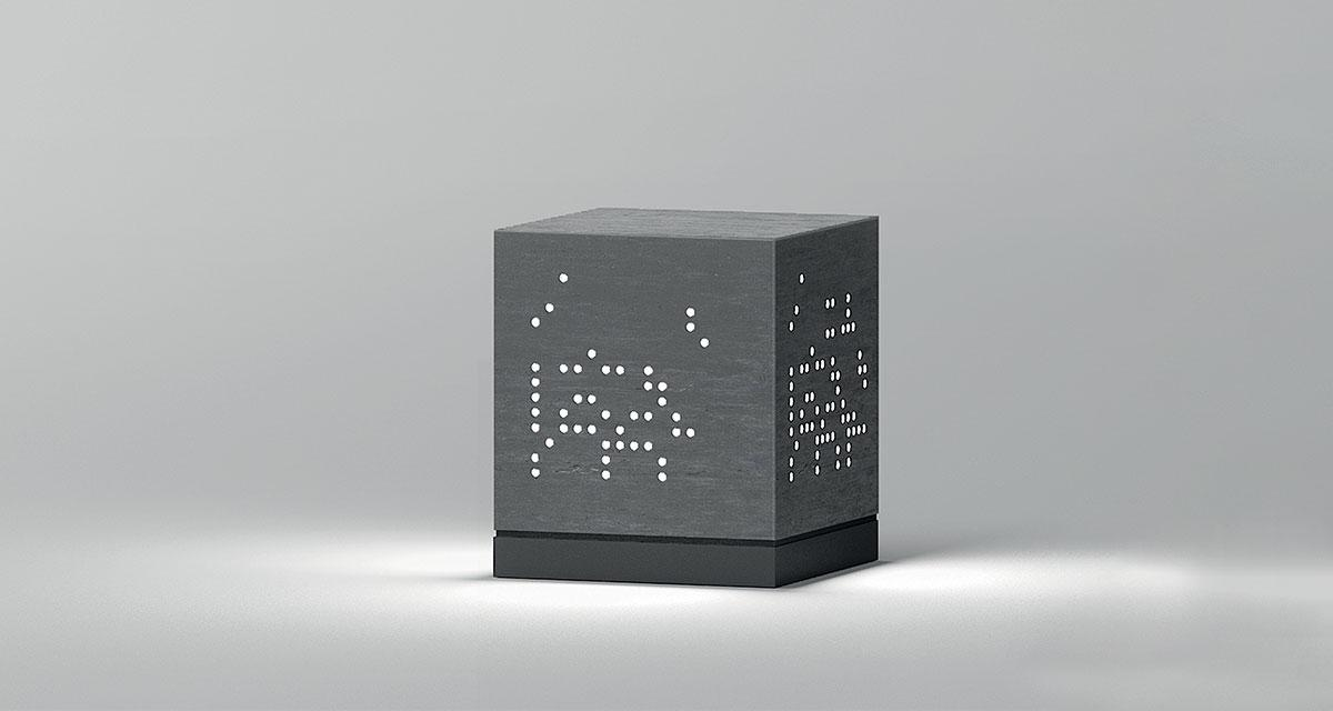 THE NUDE   Bollard with360° light emission in transparent techno-cement