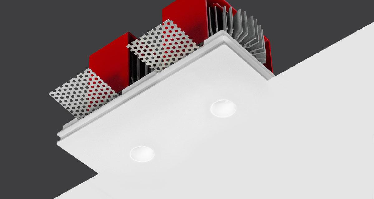 TWIN GENIUS | 125 x 100 mm rectangular recessed light with Ø 20 mm double light emission hole