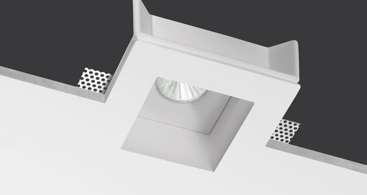IDROUT IP65 | 150 mm squared recessed lighting with 50 mm rearward light source