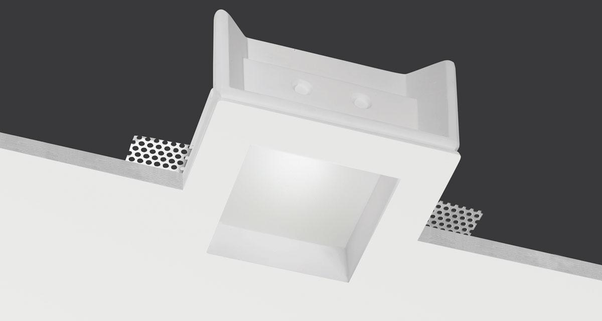 NEFI | 145 mm squared recessed lighting with 30 mm rearward frosted glass