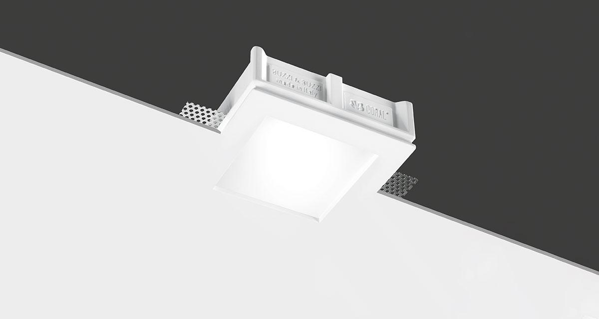 LYS | 145 mm squared recessed lighting with 5 mm rearward frosted glass