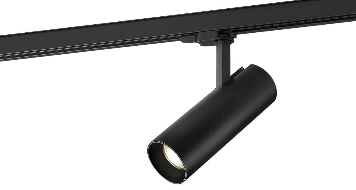 Q3 | Ø 75 x 210 mm adjustable luminaire installable on rail with black or white finishings