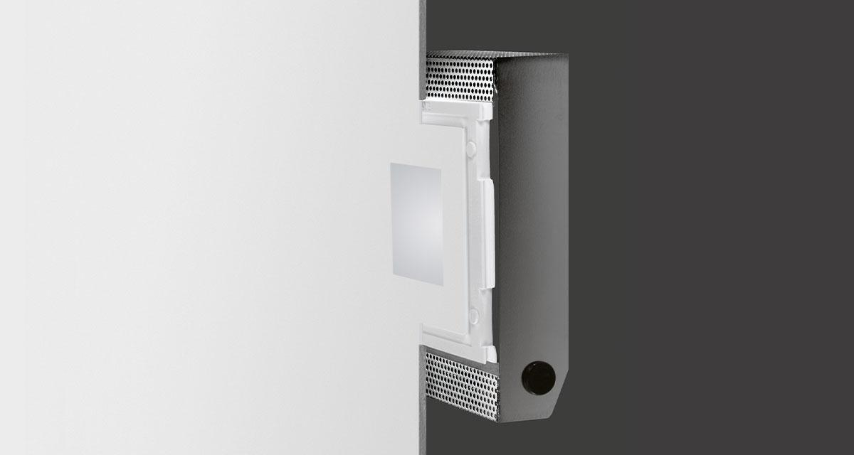 DRY | 190 x 245 mm rectangular recessed lighting with 80 mm squared light emission hole and flush frosted glass