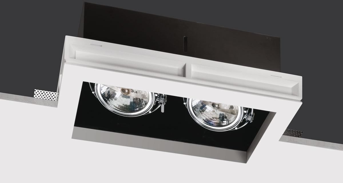 BLACK BOX | 225 mm-wide recessed lighting with single, double or triple light source, adjustable on both axes, with black rearward source base