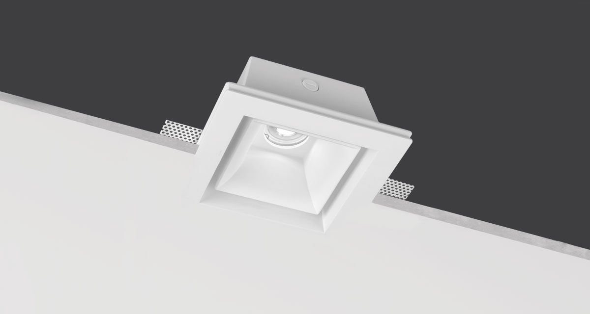 BELL | 210 mm squared luminaire with internal, rounded surface and perimetral empty space