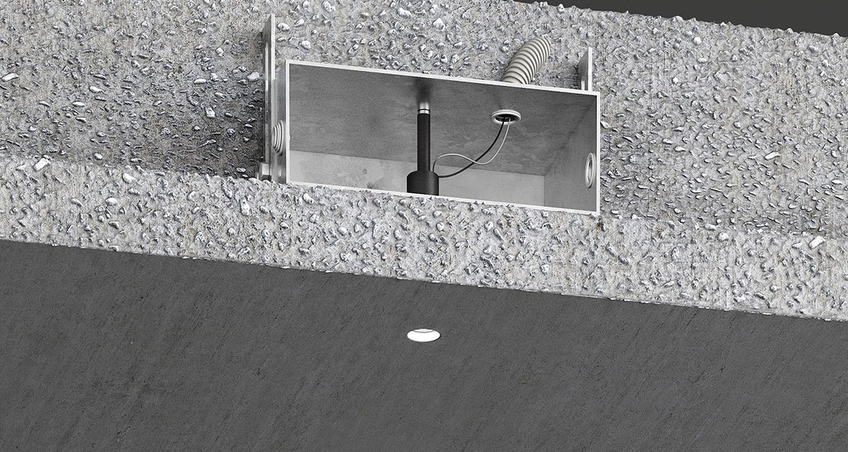 "GENIUS CONCRETE | Totally recessed luminaire with Ø 23 mm (0.90"") light emission hole and installable during the concrete casting phase with a minimum concrete cover of 12 mm (0.47"")"